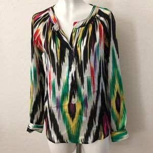 Patterson J. Kincaid Abstract Satin Tunic Top
